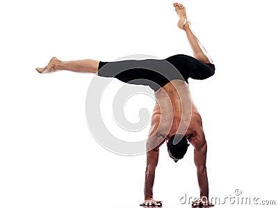 Man handstand full length gymnastic acrobatics