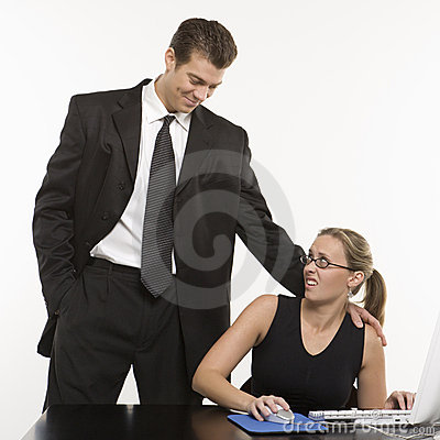 Free Man Harassing Woman At Computer. Stock Image - 2042601