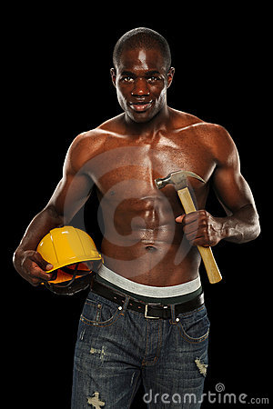 Man With Hard Hat and Hammer