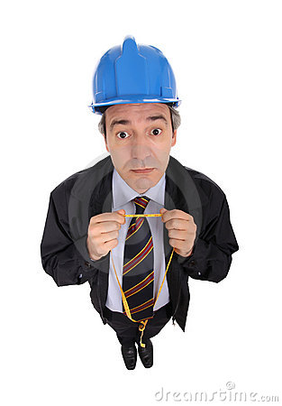 Man with hard hat and tape