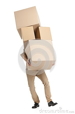 Free Man Hardly Carries The Boxes Stock Photography - 25918762