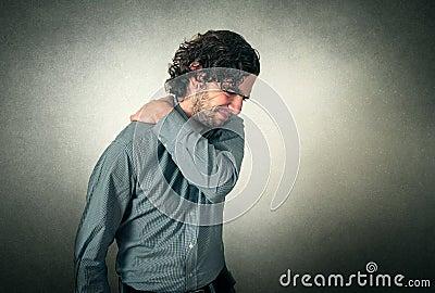Man has back pain Stock Photo