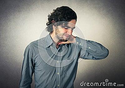 Man has neck pain Stock Photo