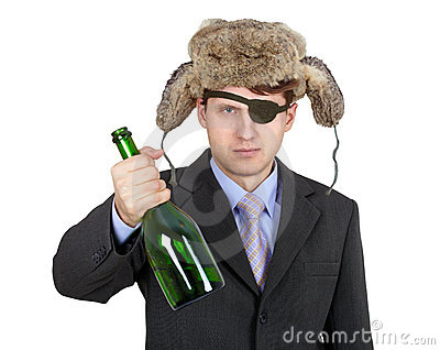 Man in hat earflaps, offers to drink alcohol