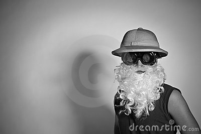 Man in a hat with a false beard