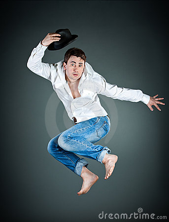 Man with a hat in a jump