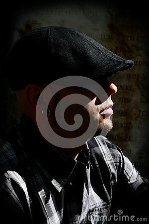 Man With Hat, Low Key Royalty Free Stock Images - Image: 13901379