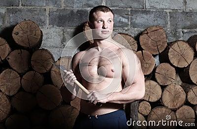 Man with hatchet