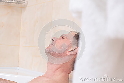 Man having a bath