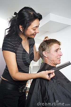 Man having his hair styled