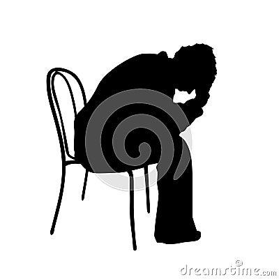 Man with headache silhouette