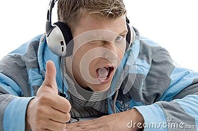 Man with headphone wishing good luck