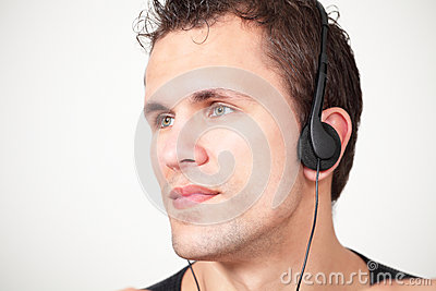 Man on headphones