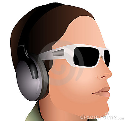 Man with headphones and sunglasses vector