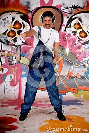 Man headset, graffiti wall