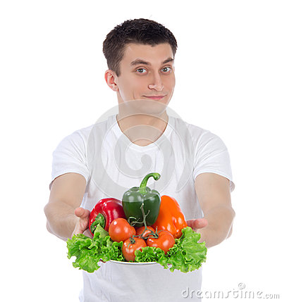 Man with healthy vegetarian vegetables salad