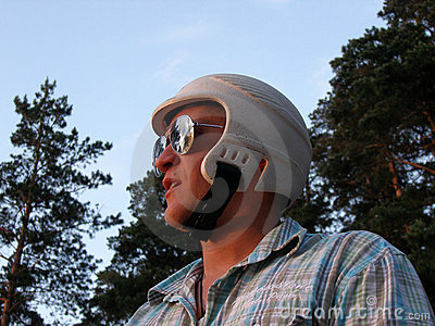 Man with a helmet