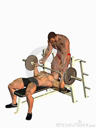 Man helping with bench press