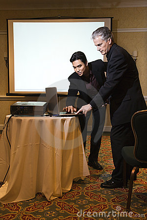 Man helping with presentation.