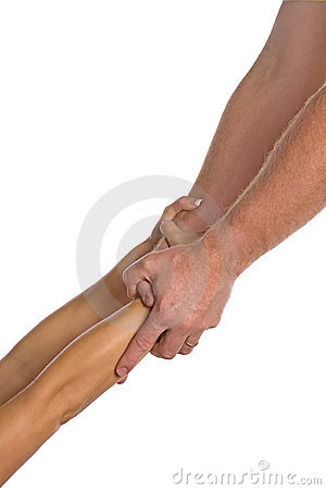 Man helping woman both hands