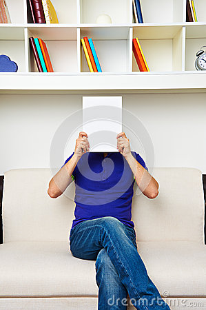 Man hiding behind empty placard