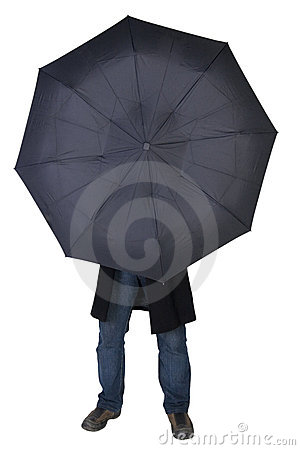 Man hiding behind an umbrella