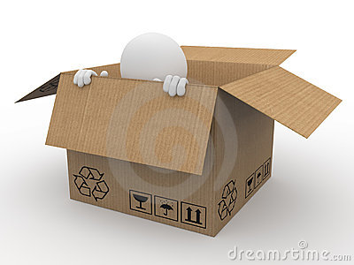 Man hiding in a cardboard box, scared