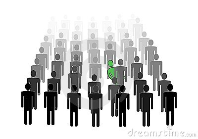 Man hiding in crowd