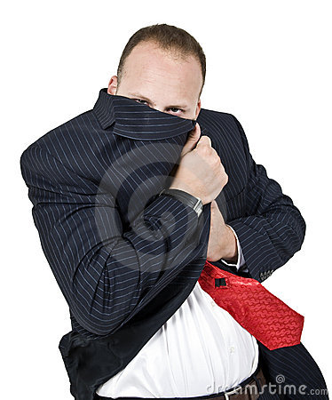 Man hiding his face