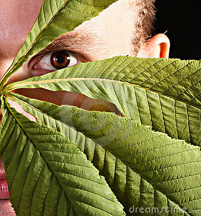 Man hiding with leaves