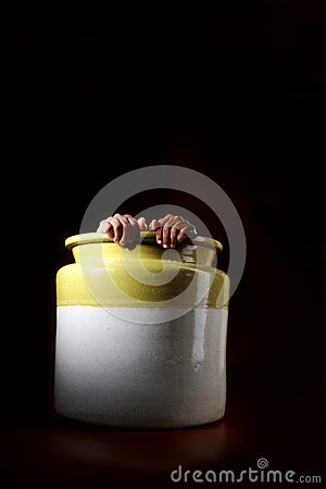 Man hiding in a pot