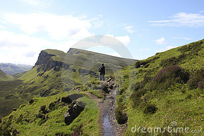 Man hiking on the isle of Skye in Scotland