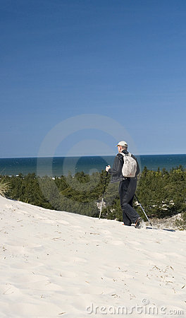 Man Hiking near Ocean