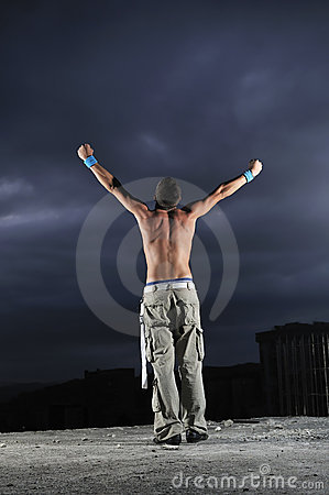 Man with his arms wide open