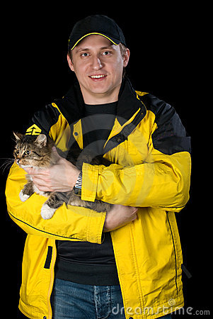 Man with his beloved cat