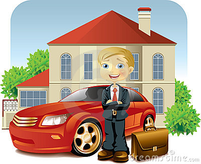 Man With His Car And House Royalty Free Stock Photos - Image: 14635308