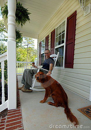 Man and his dog at home