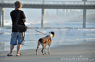 A Man and his Dog Walking together on Sandy Beach
