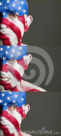 Man with his face painted with the flag of USA