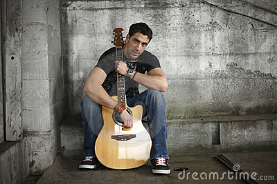 Man with his guitar