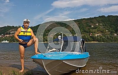 Man and his motor-boat