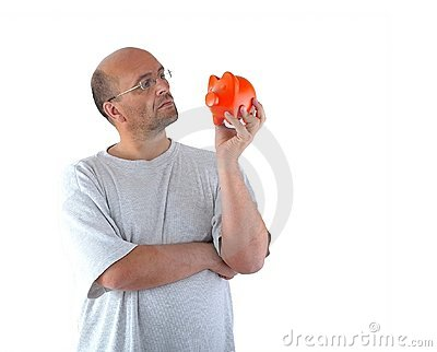 Man and his piggy bank