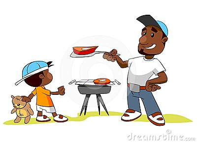 Man and his son cooking meat on barbecue grill