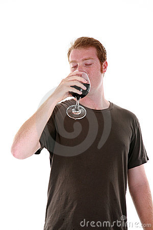 A man and his wine isolated on white