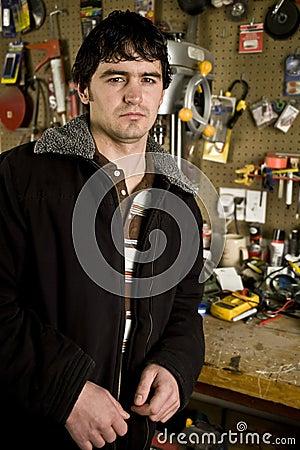 Man in his workshop