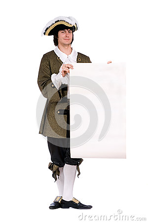 Man in a historical costume with the decree