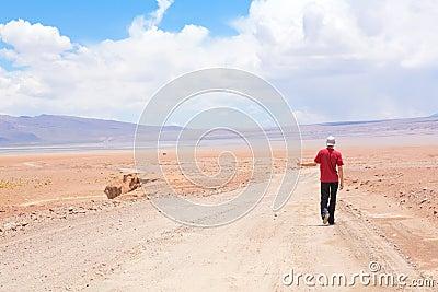 Man hitchhiking the car