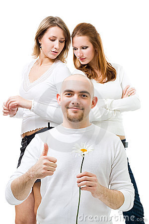 Man hold camomline with two women