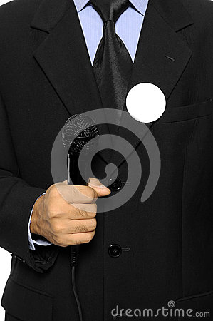 Man Hold Microphone For Election Day Concept