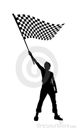 Free Man Holding A Black And White Checkered Flag Stock Images - 6382324